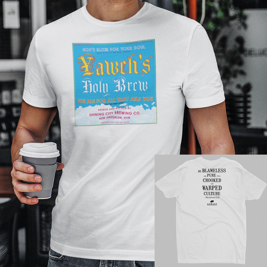 White Culture Warp Christian T-Shirt. The shirt style is Men's Fashion T-Shirt , size S. The design is Blameless and Pure - Yaweh's Holy Brew Collection.