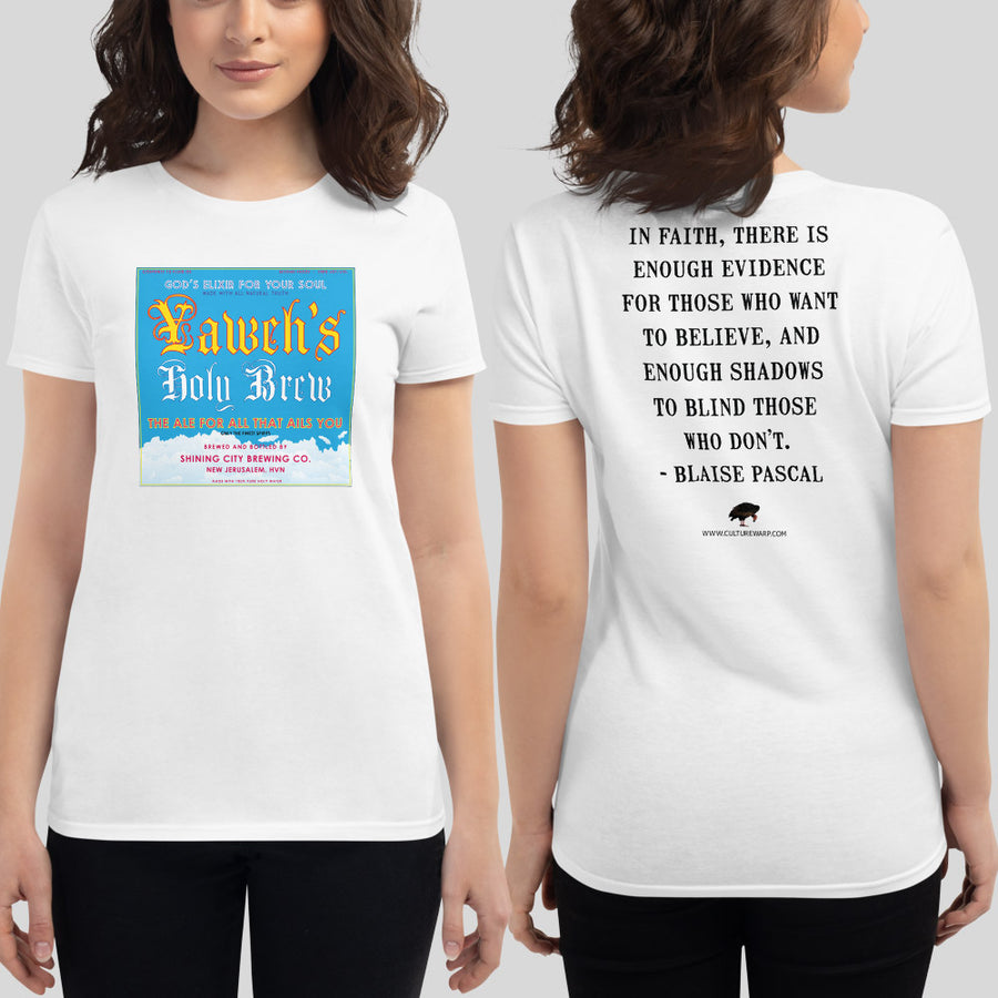White Culture Warp Christian T-Shirt. The shirt style is Women's Fashion T-Shirt , size S. The design is Enough Evidence for Those Who Want to Believe - Yaweh's Holy Brew Collection.