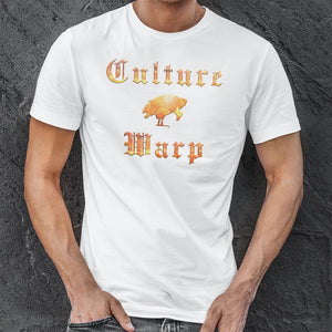 White Culture Warp Christian T-Shirt. The shirt style is Classic Unisex T-Shirt , size S. The design is Traditions & Values - Inferno Collection.