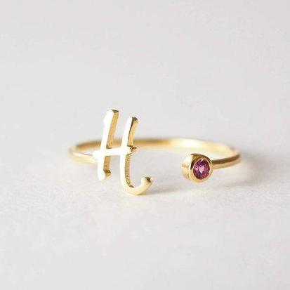 Initial Birthstone Ring