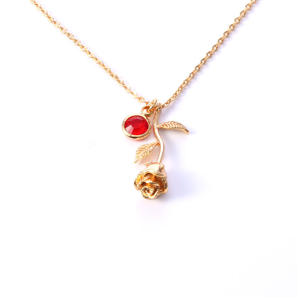 Birthstone Rose Necklace