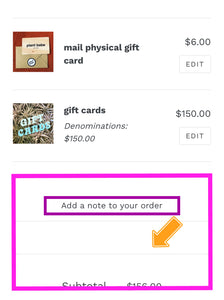 mail physical gift card ADD ON