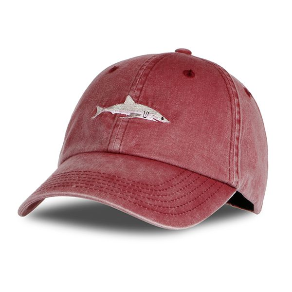 Washed Baseball Cap W/ Shark Embroidery