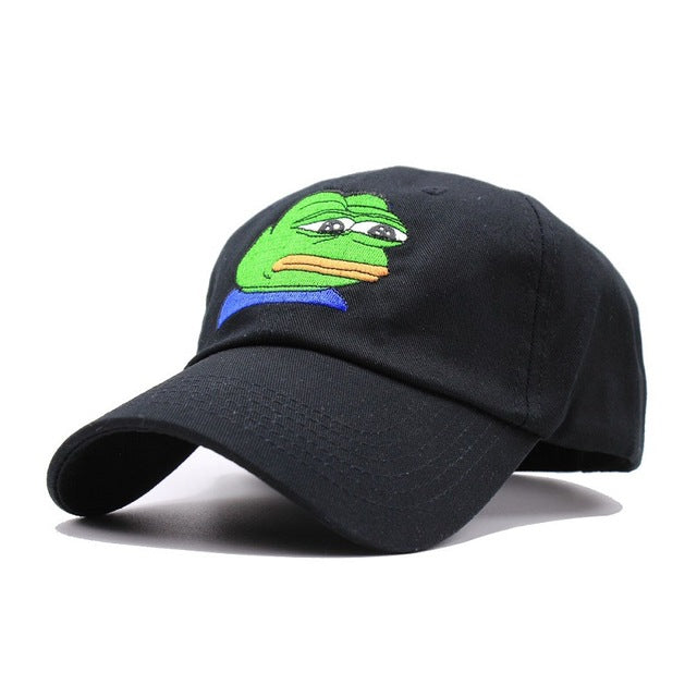 Sad Meme Frog Embroidery Baseball Cap