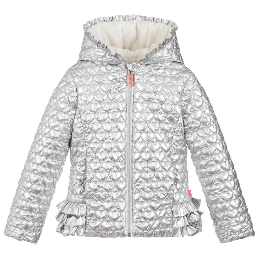 d14da676 Billieblush Silver Hooded Quilted Jacket