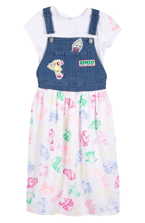 Kenzo Kids Food Fiesta Tee & Dungaree Dress