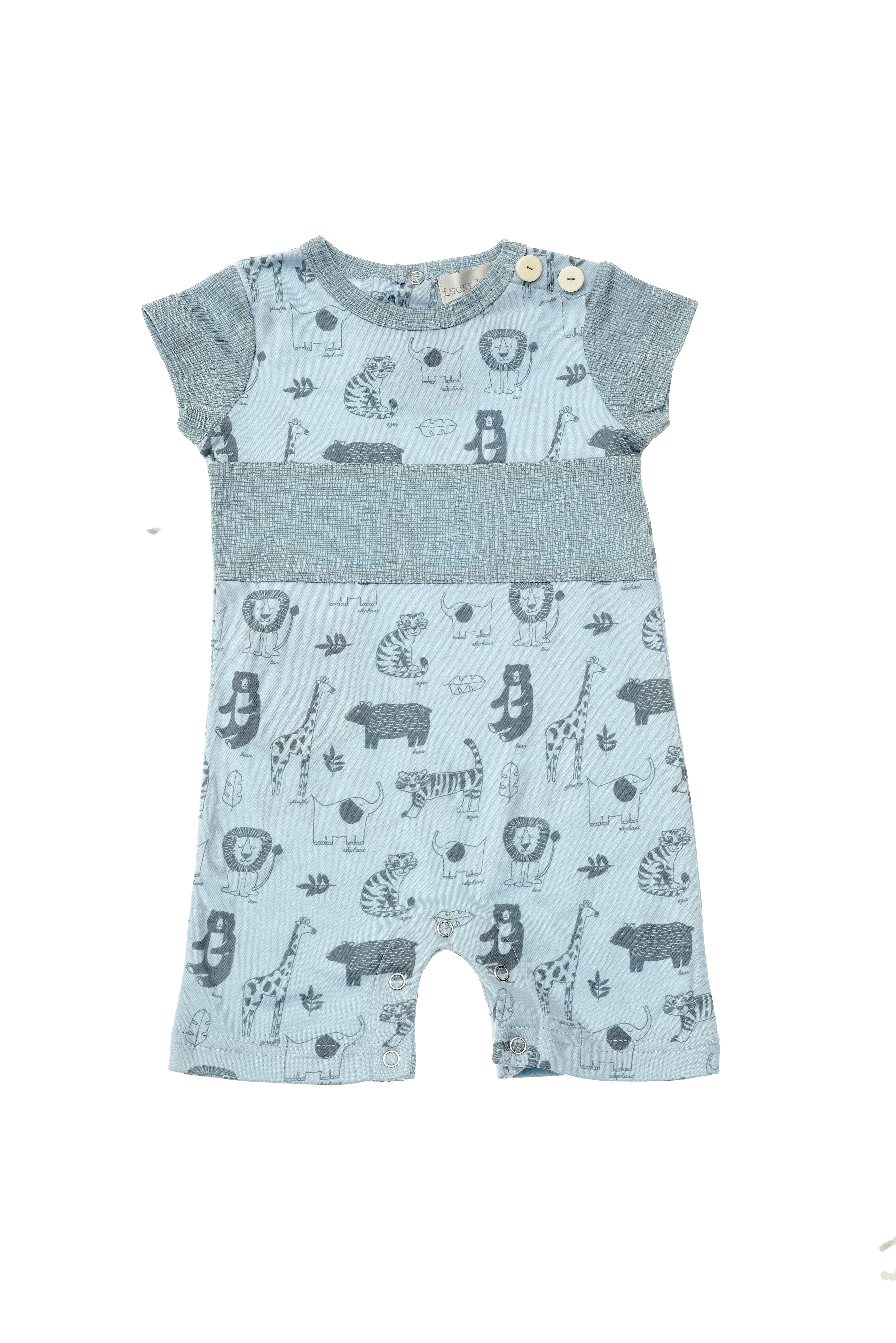 Lucky Jade Boys Animal Romper With Chest Stripe