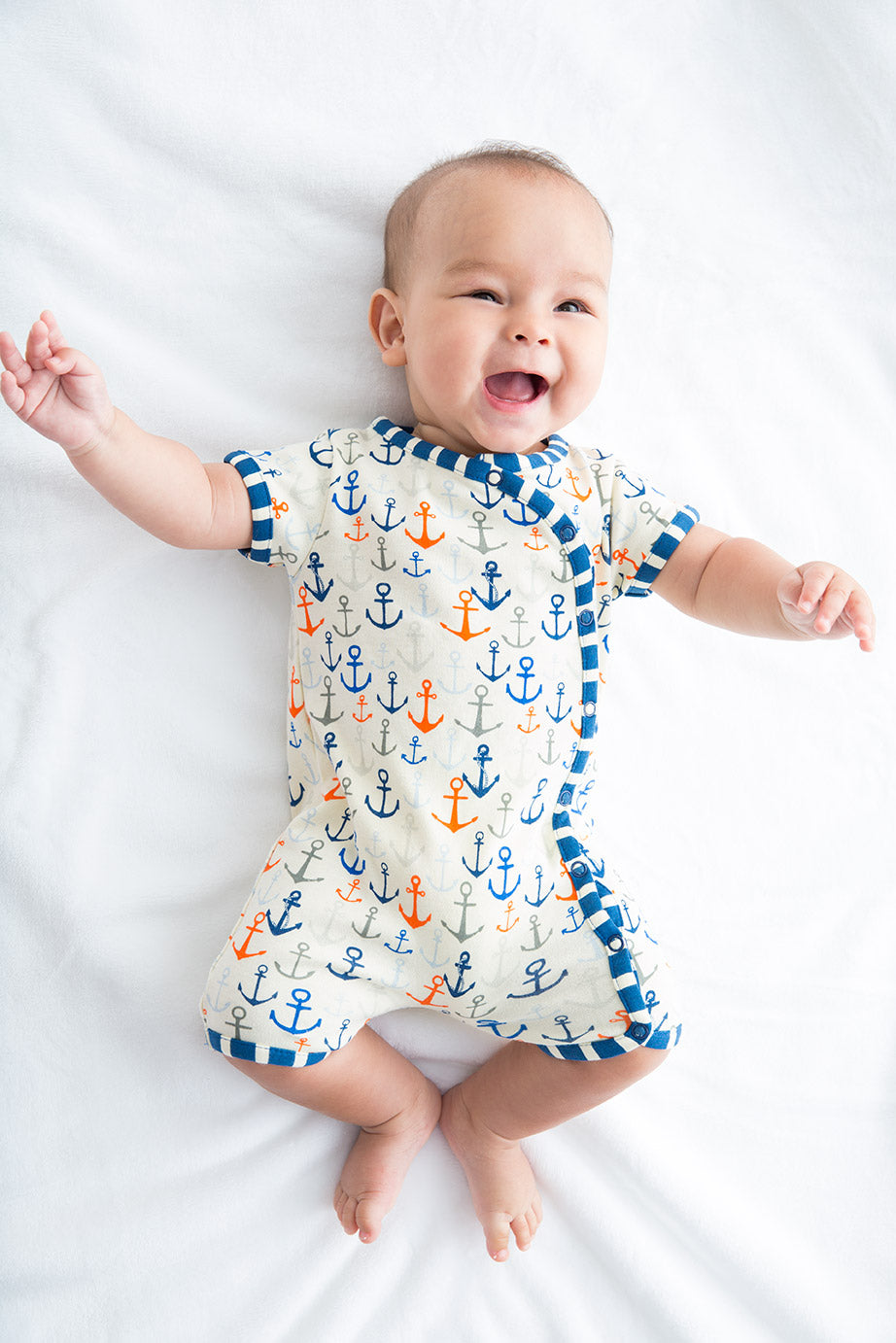 Lucky Jade Nautical Boys Anchor Print Romper