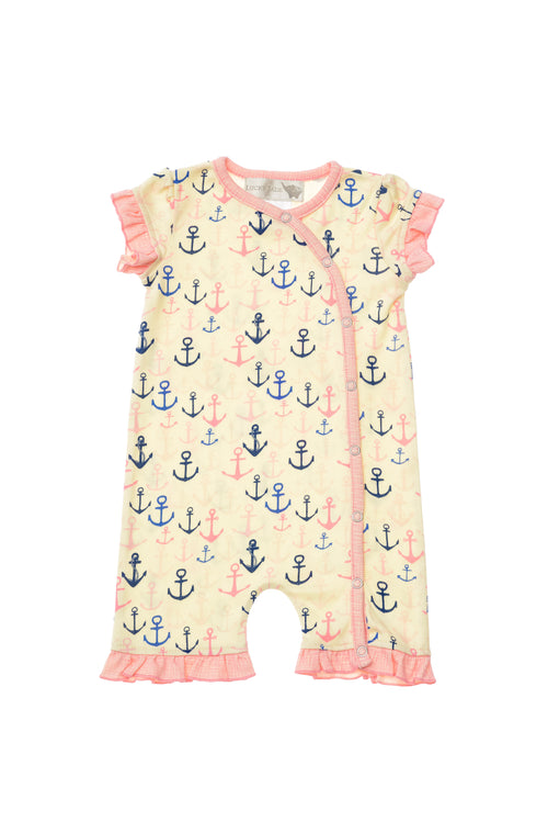 Lucky Jade Nautical Girls Anchor Ruffle Romper