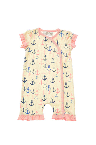 Nautica Girls Romper with Anchor Print