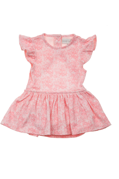 Lucky Jade Pink Hawaiian Ruffle Dress
