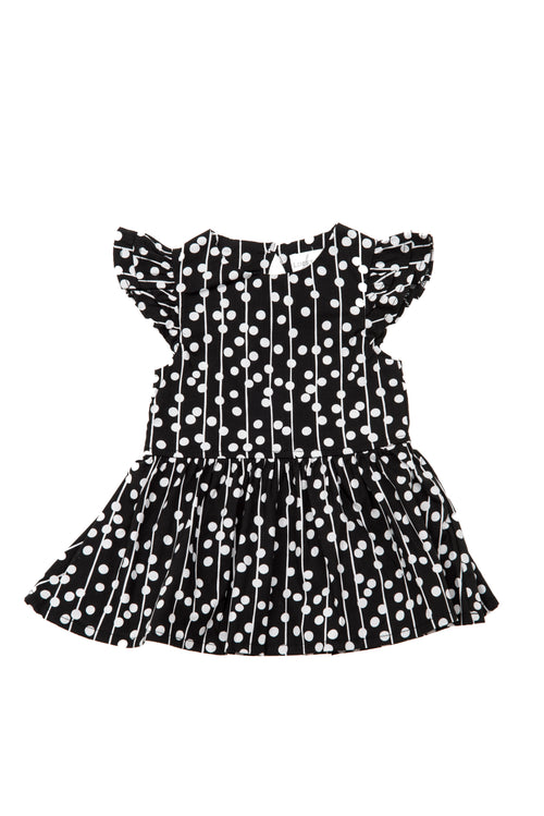 Lucky Jade Black Dot Woven Dress