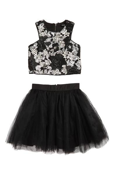 Miss Behave Girls - Shirley Sequin Crop Top & Tulle Skirt