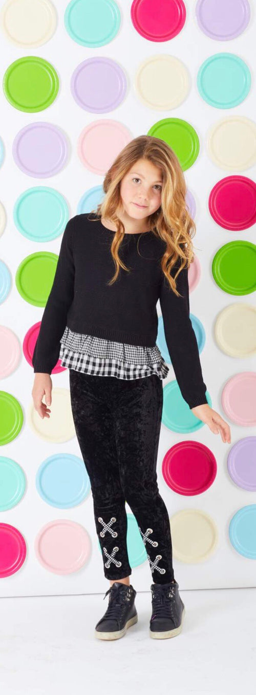 Design History Black Sweater w/stripe and checker bottom