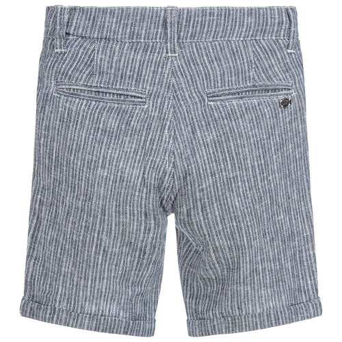 3Pommes Boys Blue Stripe Linen Shorts