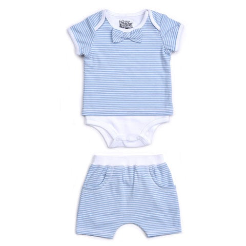 Kapital K Blue Stripe 2 Piece Bodysuit and Ruffled Pull-on Short Set