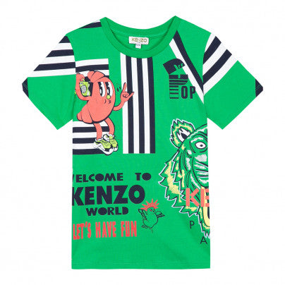 Kenzo Kids Tiger Friends Green Tee
