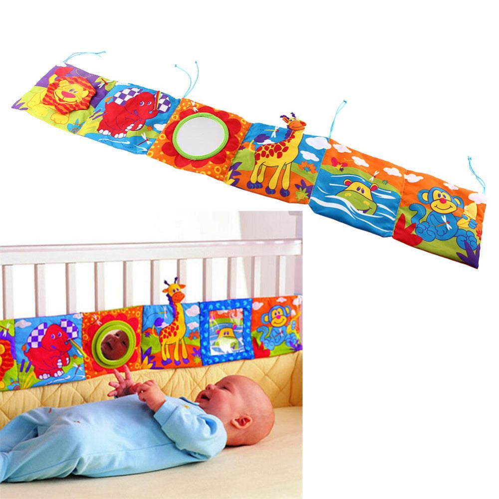 Crib bumper/book and toy. This Colorful Bed Bumper rattles and is interactive. Soft and durable.
