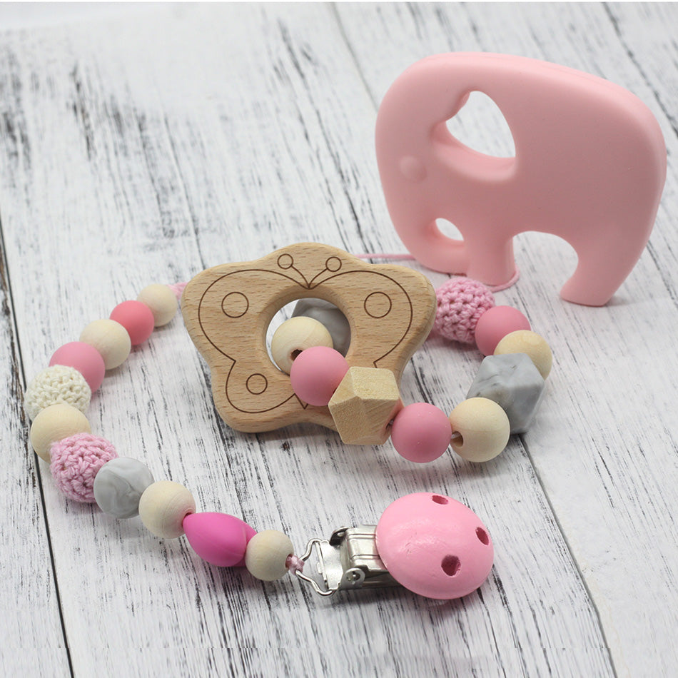 Pacifier Clip Wooden Organic and Silicone Beads 1PC Rattle Holder Chewable Baby Accessories pendant