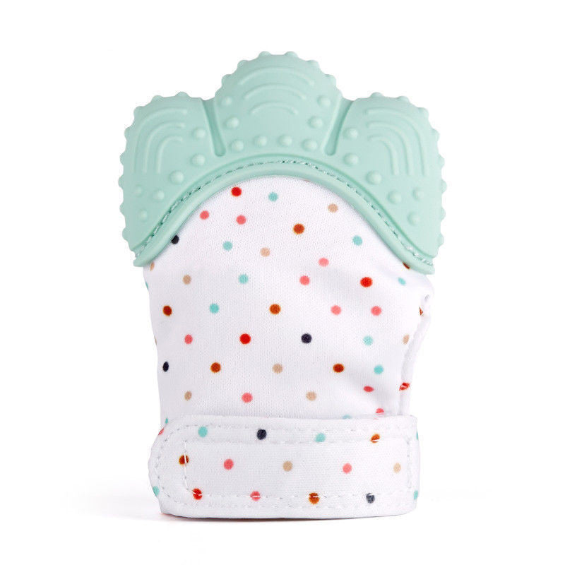 Hot seller!  Safe Silicone Baby Mitt Teething Mitten Teething Glove W/ Crinkle Sound. Teether choose from 5 color options.