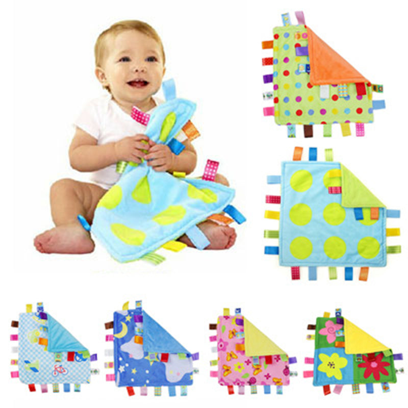 Soft Colorful Square tag blanket. Soothing, Security, Reassure Blanket Education Baby Kids Toys For Newborn to toddlers