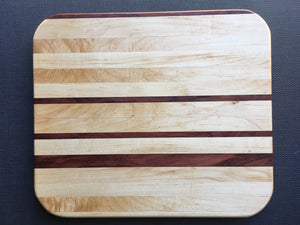 "Curly maple, hard maple and bubinga cutting board 10.5"" x 12"""