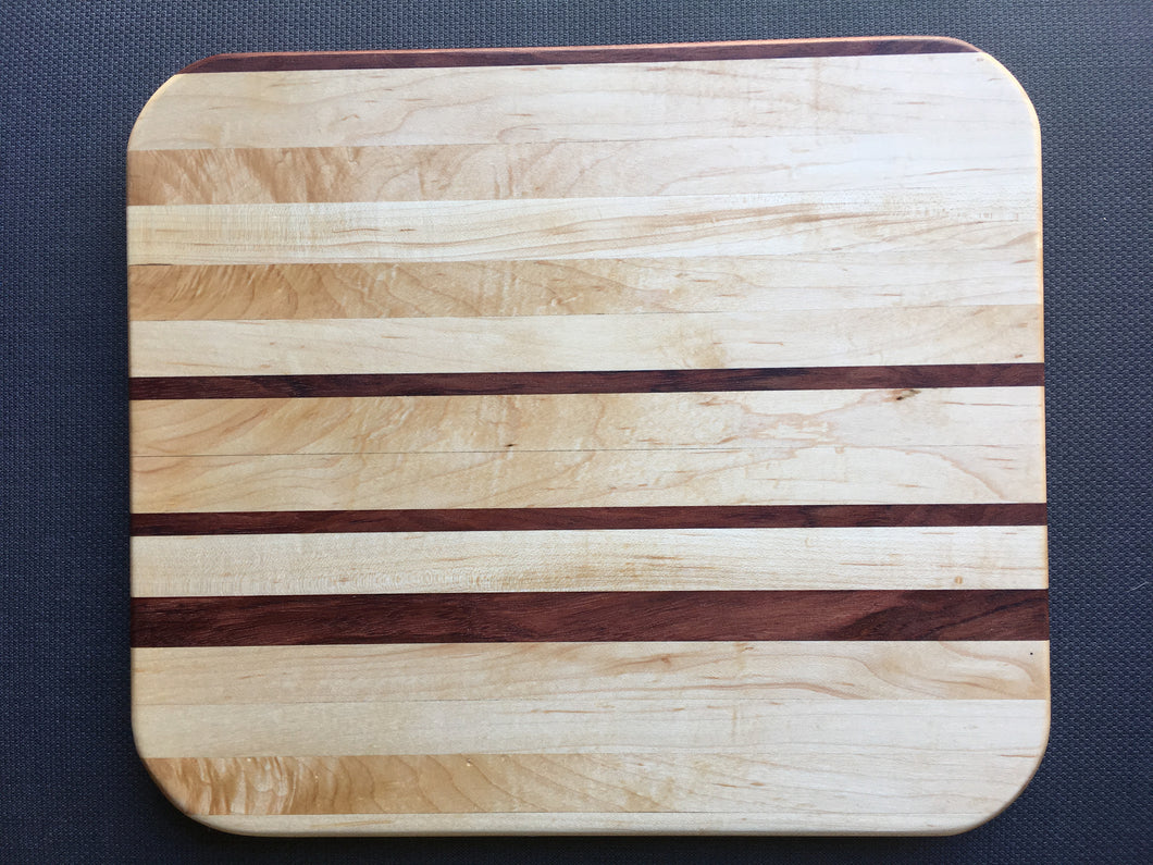 Curly maple, hard maple and bubinga cutting board 10.5