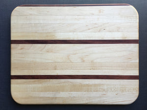 "Hard Maple and exotic bubinga cutting board 11"" x 14"""