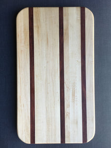 "Hard maple and bubinga cutting board 9"" x 15"""