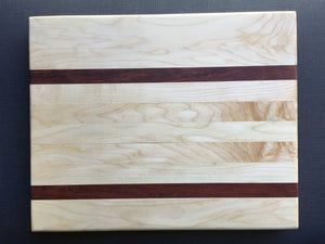 "Hard maple, curly maple and bubinga cutting board 12"" x 15"" and a full 1"" thick"