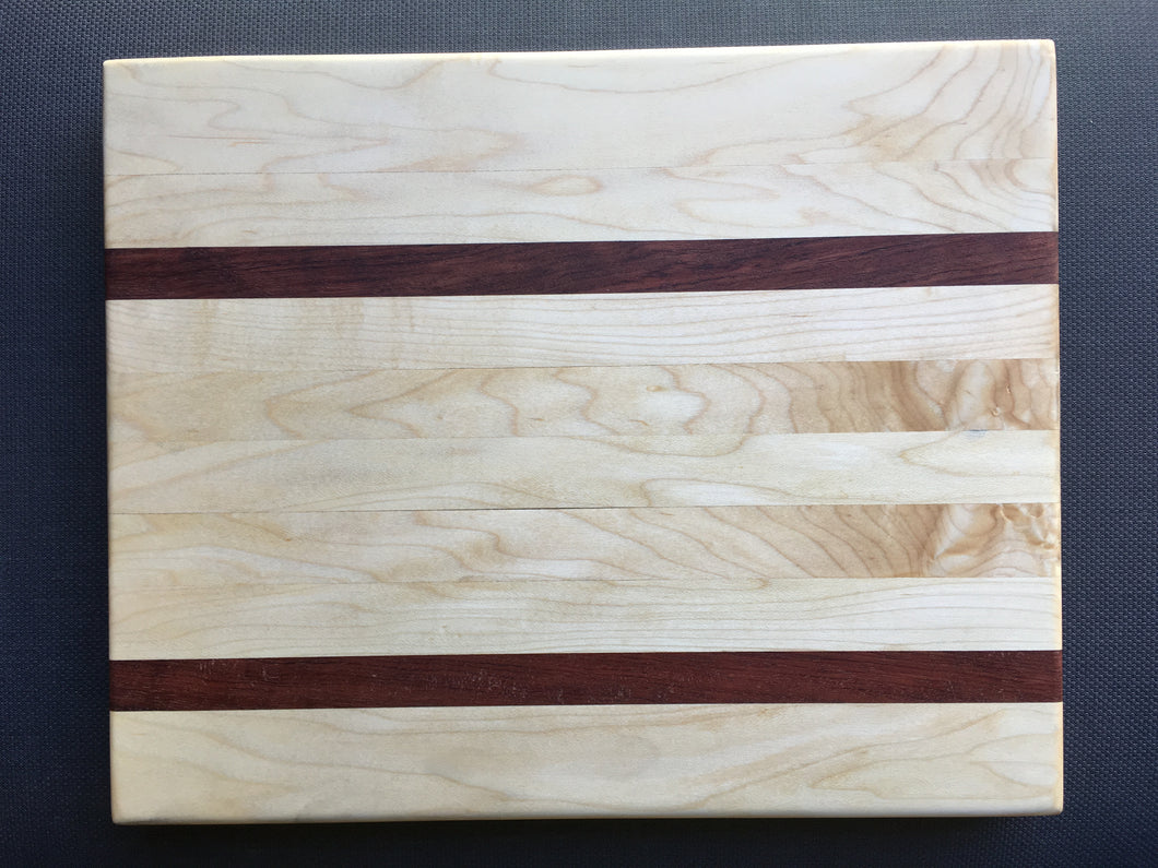 Hard maple, curly maple and bubinga cutting board 12