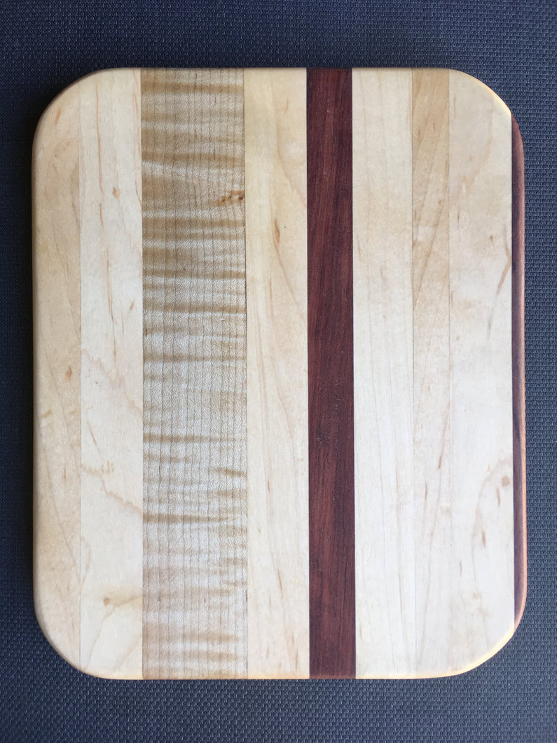 Curly maple, hard maple and bubinga cutting board 8