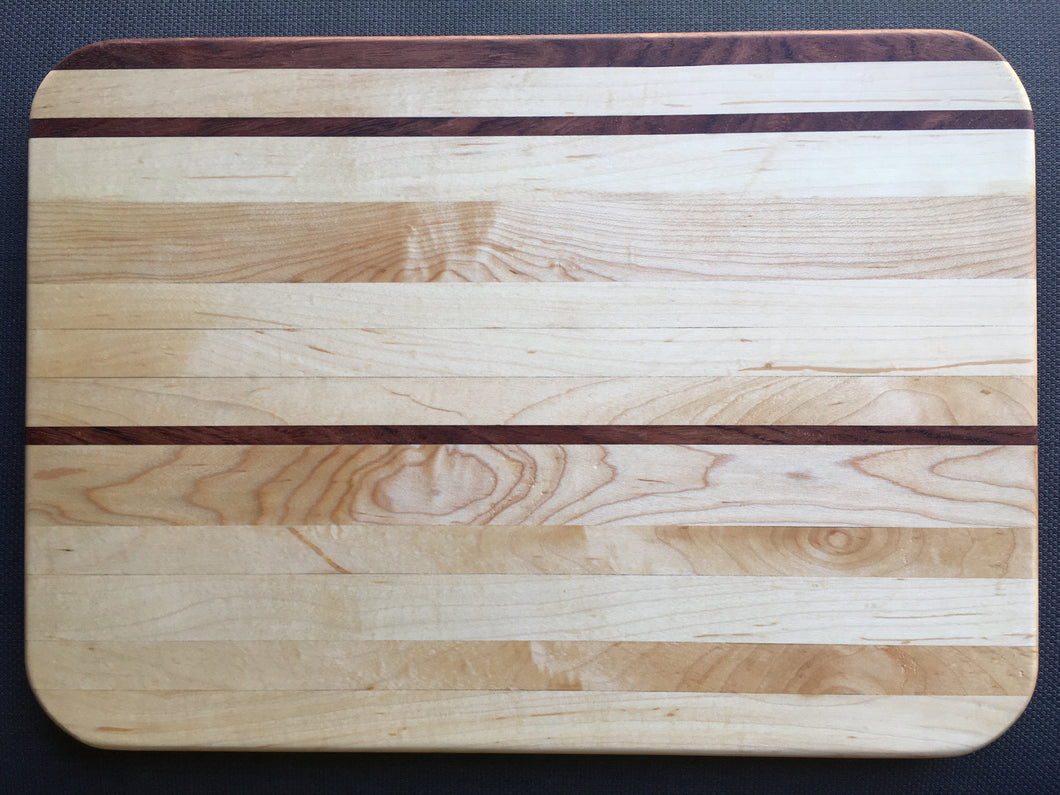 Hard maple with bubinga pin stripes cutting board 11