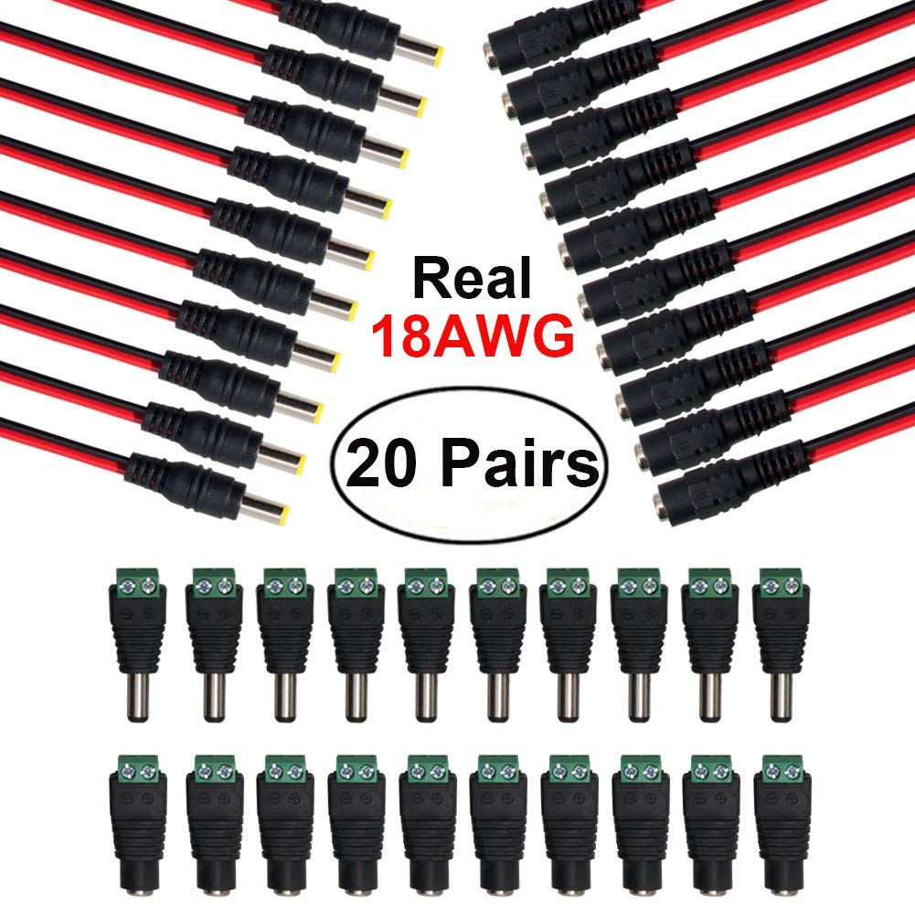 10 Pairs DC Power Pigtail Cable and 10 Pairs DC Power Jack Plug Adapter