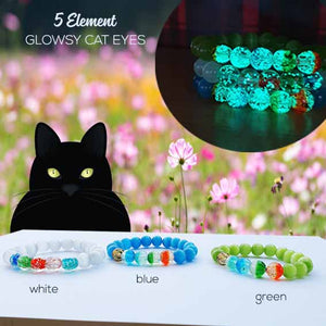 Gelang Cat Eyes Stone 5 Unsur FengShui (Glow In The Dark) (GLU06)