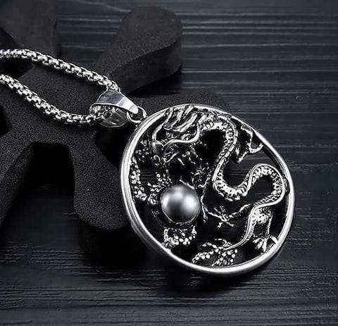 Kalung Dragon Cloud Stainless Steel 3D Retro (ST31)