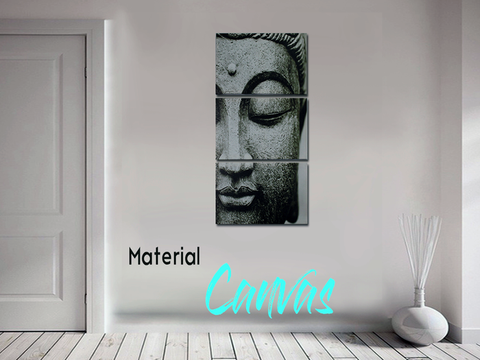 Lukisan Canvas Dekorasi Buddha Head (With Frame) 20cm x 40cm (PLA01)