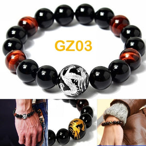 Gelang Dragon King Silver & Gold Tiger Eye Stone (GZ03)
