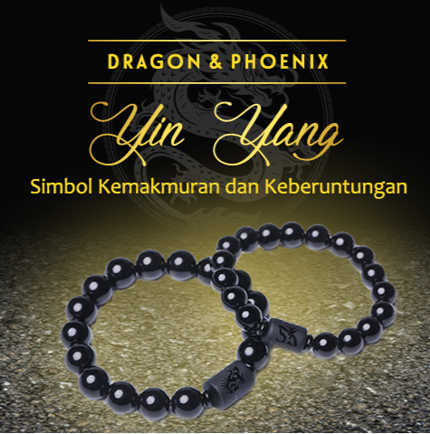 Gelang Dragon Phoenix Couple Black Obsidian Stone (GZ04)