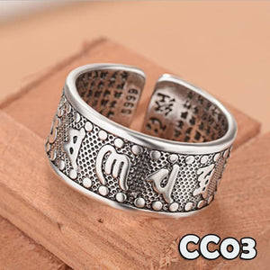 Cincin Retro Mantra Tibetan Buddhism All Size Silver Copper (CC03)