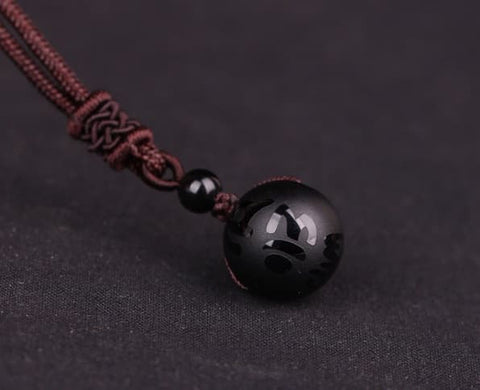 Kalung Mantra Om Mani Padme Hum Black Snow Frost Agate Stone (KS03)