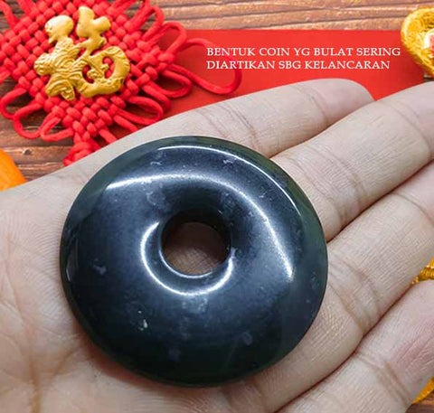 Liontin Lucky Coin Black Jade Stone Premium (AD17)
