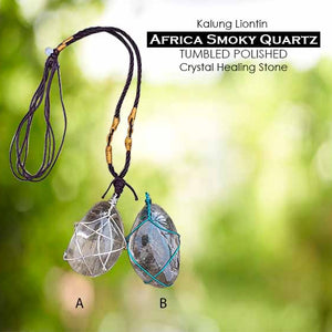 Kalung Liontin Africa Smoky Quartz Tumbled Polished (LBP89)
