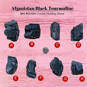 Afganistan Black Tourmaline Big Rough Crystal Healing Stone (BC168)
