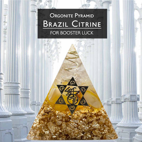 Orgonite Pyramid Brazil Citrine For Booster Luck (BC177)