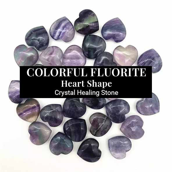 Colorful Fluorite Heart Shape Crystal Healing (BC195)