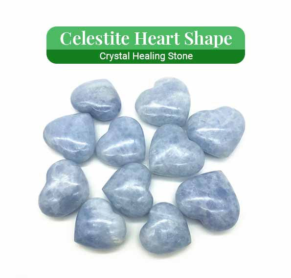 Celestite Heart Shape Crystal Healing (BC187)