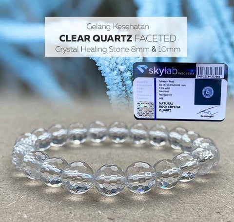 Gelang Kesehatan Clear Quartz Faceted Crystal Healing (GBP277)