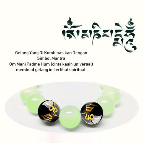 Bracelet Glow In The Dark Stone (Om Mani Padme Hum) (GCS09)