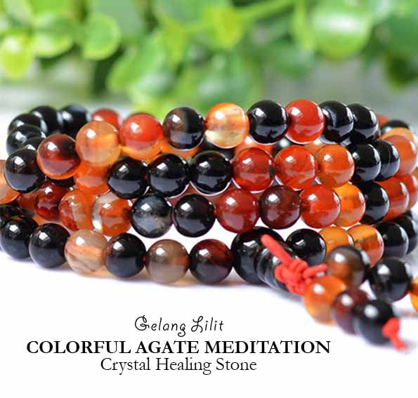 Gelang Lilit Colorful Agate Meditation Crystal Healing Stone (LC32)